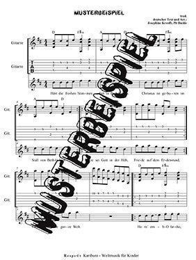 Noten, Gesangsnoten Tabulatur Gitarren akkorde. GUte Musik für Kinder zum mitmusizieren und mitsingen, leadsheets-weihnachtslieder-aus-aller-welt